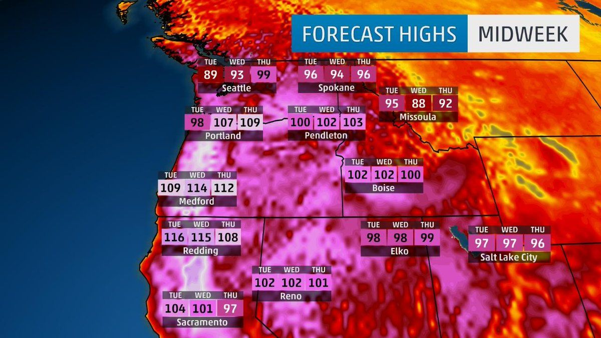 A temperature map of the Pacific Northwest. Most places are purple or red, indicating temperature near or above 100 degrees.
