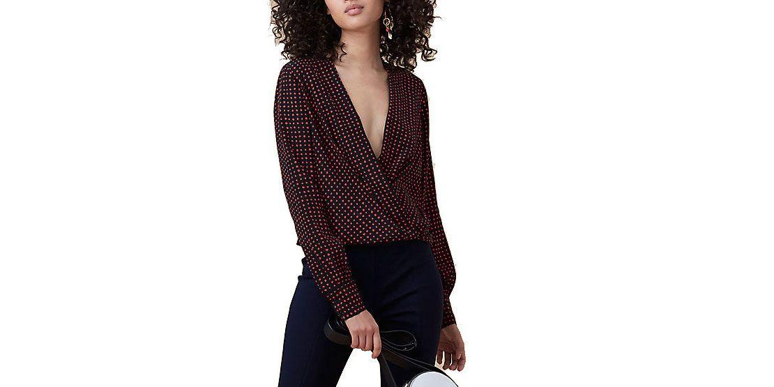 Diane von Furstenberg drape front blouse