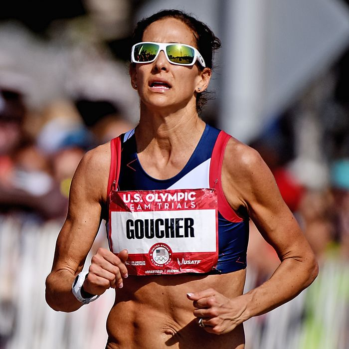 Kara Goucher competes in the Olympic Marathon Trials on February 13.