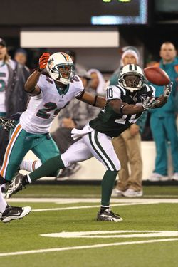 EAST RUTHERFORD, NJ - DECEMBER 12:  Wide Receiver Santonio Holmes #10 of the New York Jets has a big catch against the Miami Dolphins  at New Meadowlands Stadium on December 12, 2010 in East Rutherford, New Jersey. Dolphins won the game, 10-6.  (Photo by Al Pereira/New York Jets/Getty Images)