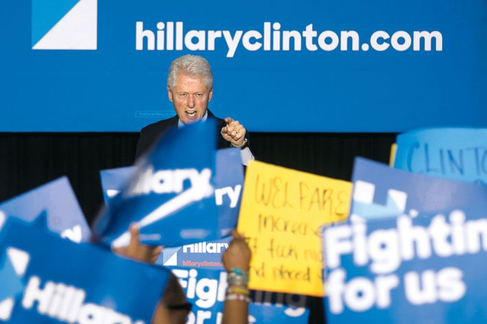 "Former President Bill Clinton has a heated exchange with a protester during a rally for Democratic presidential candidate Hillary Clinton, Thursday April 7, 2016, in Philadelphia. Bill Clinton was interrupted by people in the crowd holding signs reading ""Clinton crime bill destroyed our communities"" and ""Welfare reform increased poverty."" (Ed Hille/The Philadelphia Inquirer via AP)  PHIX OUT; TV OUT; MAGS OUT; NEWARK OUT; MANDATORY CREDIT"