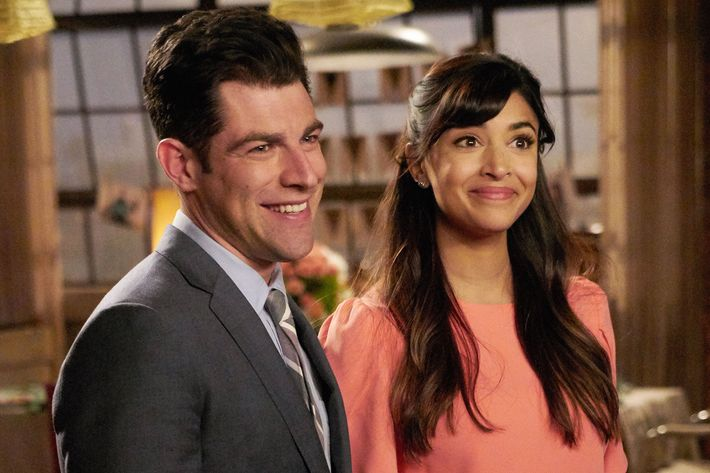 "NEW GIRL: L-R: Max Greenfield and Hannah Simone in the ""Wedding Eve"" episode of NEW GIRL airing Tuesday, May 10 (8:00-8:30 PM ET/PT) on FOX.  ©2016 Fox Broadcasting Co.  Cr:  Adam Taylor"