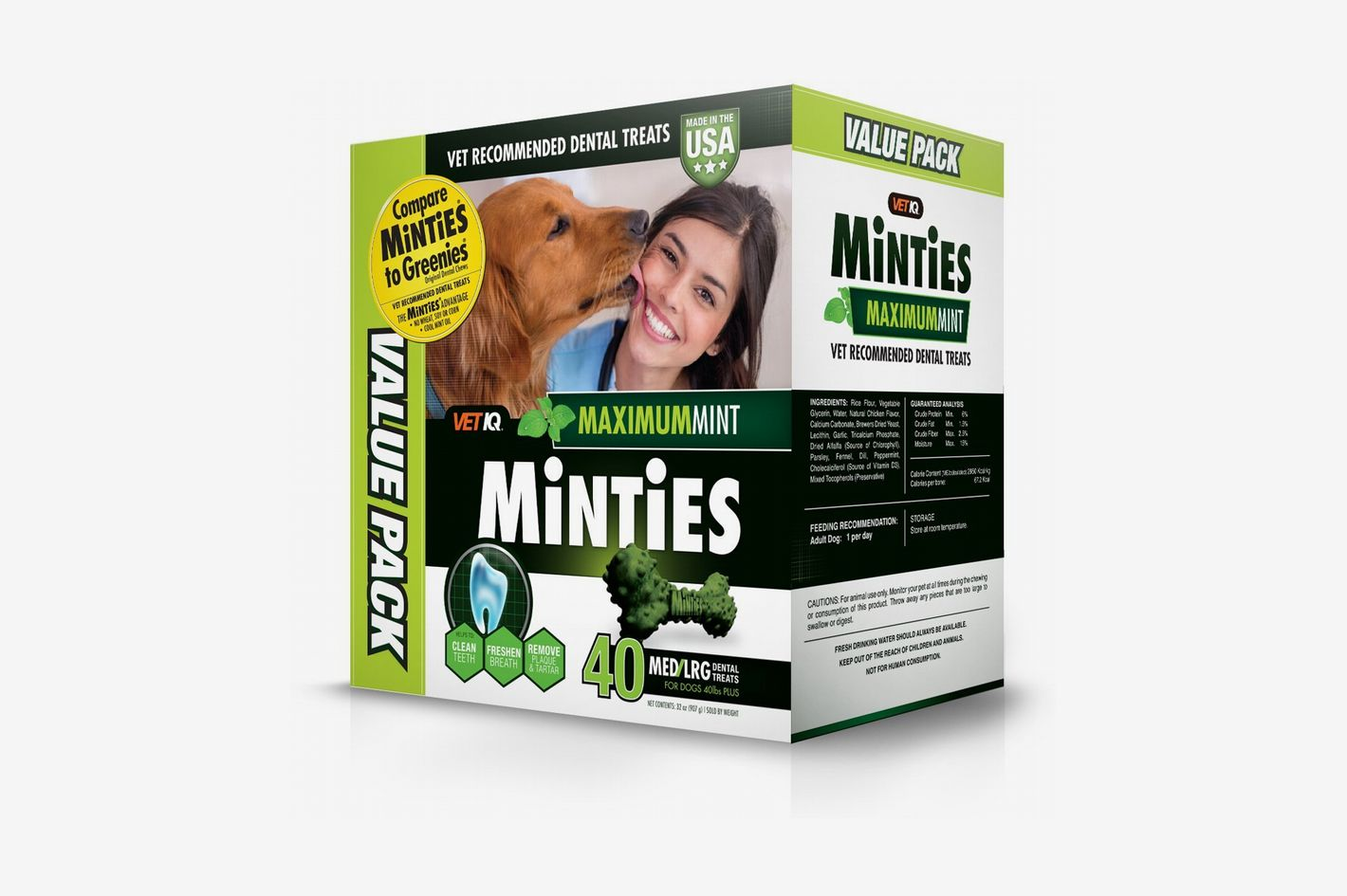 VetIQ Minties Dog Dental Bone Treats, Dental Treats for Dogs
