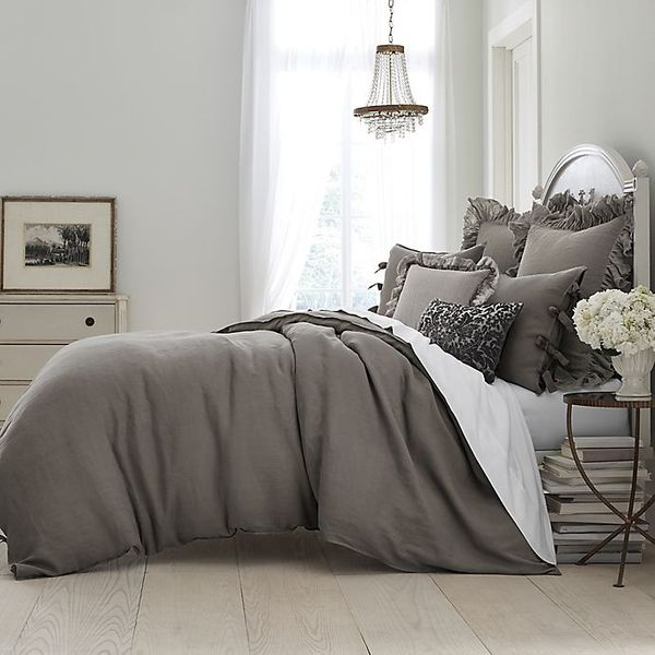 Wamsutta Vintage Washed Linen Full/Queen Duvet Cover in Charcoal