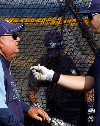 Senior baseball advisor Don Zimmer (left) talks with Evan Longoria #3 of the Tampa Bay Rays