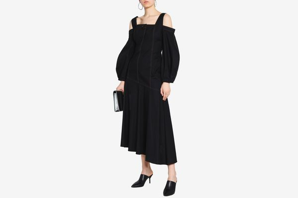 Ellery Cold-Shoulder Stretch-Cotton Maxi Dress