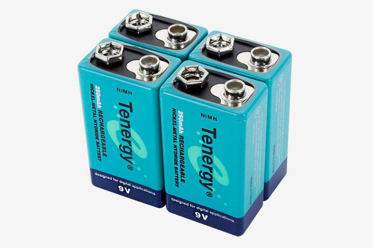 Tenergy 9V High Capacity Rechargeable Batteries (4-Pack)