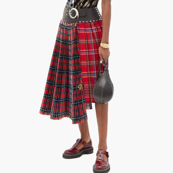 Chopova Lowena Asymmetric Pleated Tartan-Wool Skirt