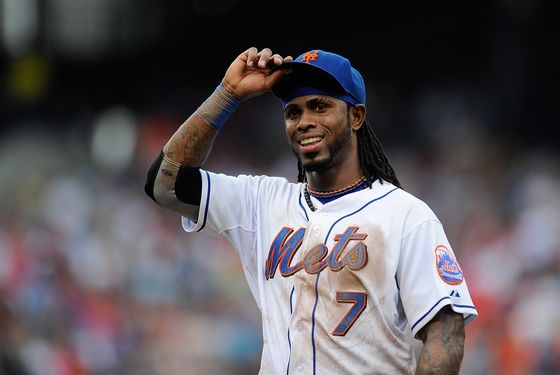 Jose Reyes #7 of the New York Mets acknowledges the crowd during the sixth inning of a game against the Philadelphia Phillies at Citi Field on September 24, 2011 in the Flushing neighborhood of the Queens borough of New York City.