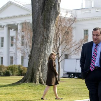 New Jersey Republican Governor Chris Christie leaves the North Lawn of the White House in Washington, DC, February 27, 2012, following a meeting of the National Governors Association with US President Barack Obama. AFP PHOTO / Saul LOEB (Photo credit should read SAUL LOEB/AFP/Getty Images)