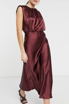 ASOS Design Sleeveless Satin Shoulder Pad Mini Dress in Oxblood