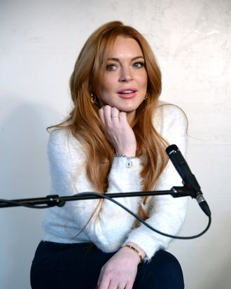 PARK CITY, UT - JANUARY 20: Actress Lindsay Lohan attends Lindsay Lohan Press Conference at Social Film Loft during the 2014 Park City on January 20, 2014 in Park City, Utah. (Photo by Andrew H. Walker/Getty Images)