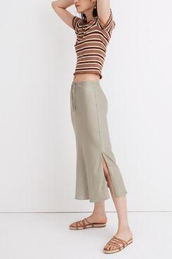 Madewell Linen-Blend Drawstring Midi Slip Skirt