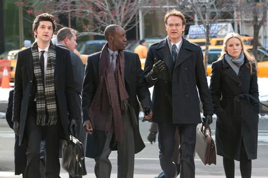 Ben Schwartz as Clyde Oberholt, Don Cheadle as Marty Kaan, Josh Lawson as Doug, and Kristen Bell as Jeannie Van Der Hoovenn in House of Lies.