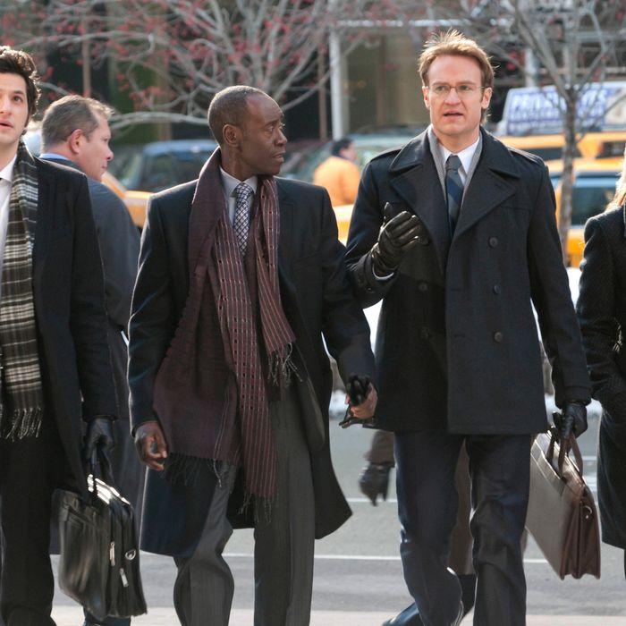 Ben Schwartz as Clyde Oberholt, Don Cheadle as Marty Kaan, Josh Lawson as Doug, and Kristen Bell as Jeannie Van Der Hoovenn in House of Lies.