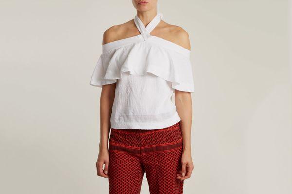 Cecilie Copenhagen Topanga Scarf-Jacquard Cotton Top