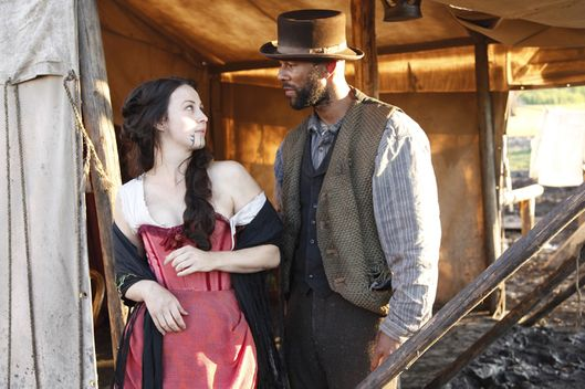 """Hell on Wheels"" Eva (Robin McLeavy) and Elam Ferguson (Common) in Episode 4."