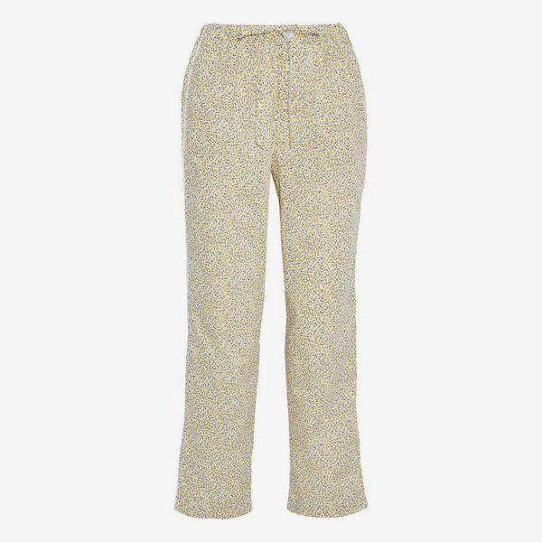 Marina Printed Cotton-Poplin Pajama Pants - strategist best yellow marina draw string cotton pajama pants