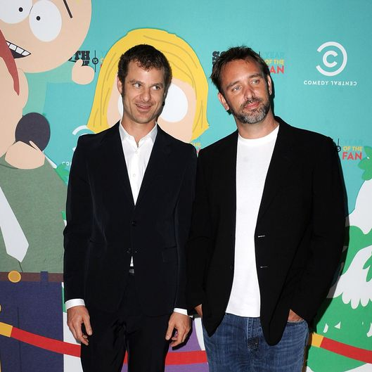 "South Park writers/creators Matt Stone (L) and Trey Parker (R) arrive at ""South Park"" 15th Anniversary Celebration at The Barker Hanger on September 20, 2011 in Santa Monica, California."
