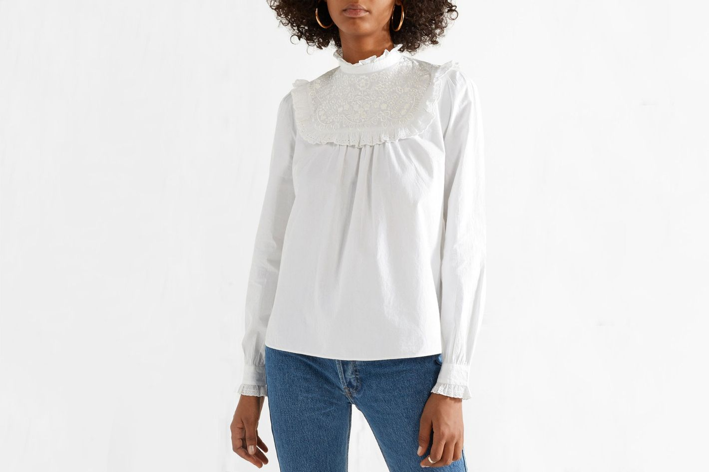 Needle & Thread Broderie anglaise cotton-poplin blouse