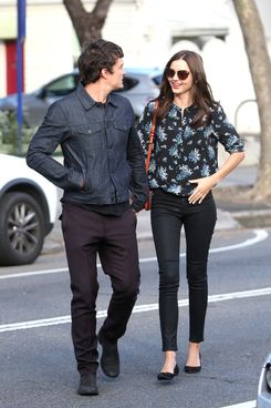 Miranda Kerr and Orlando Bloom look loved up as they leave Chiswick restaurant in Sydney.