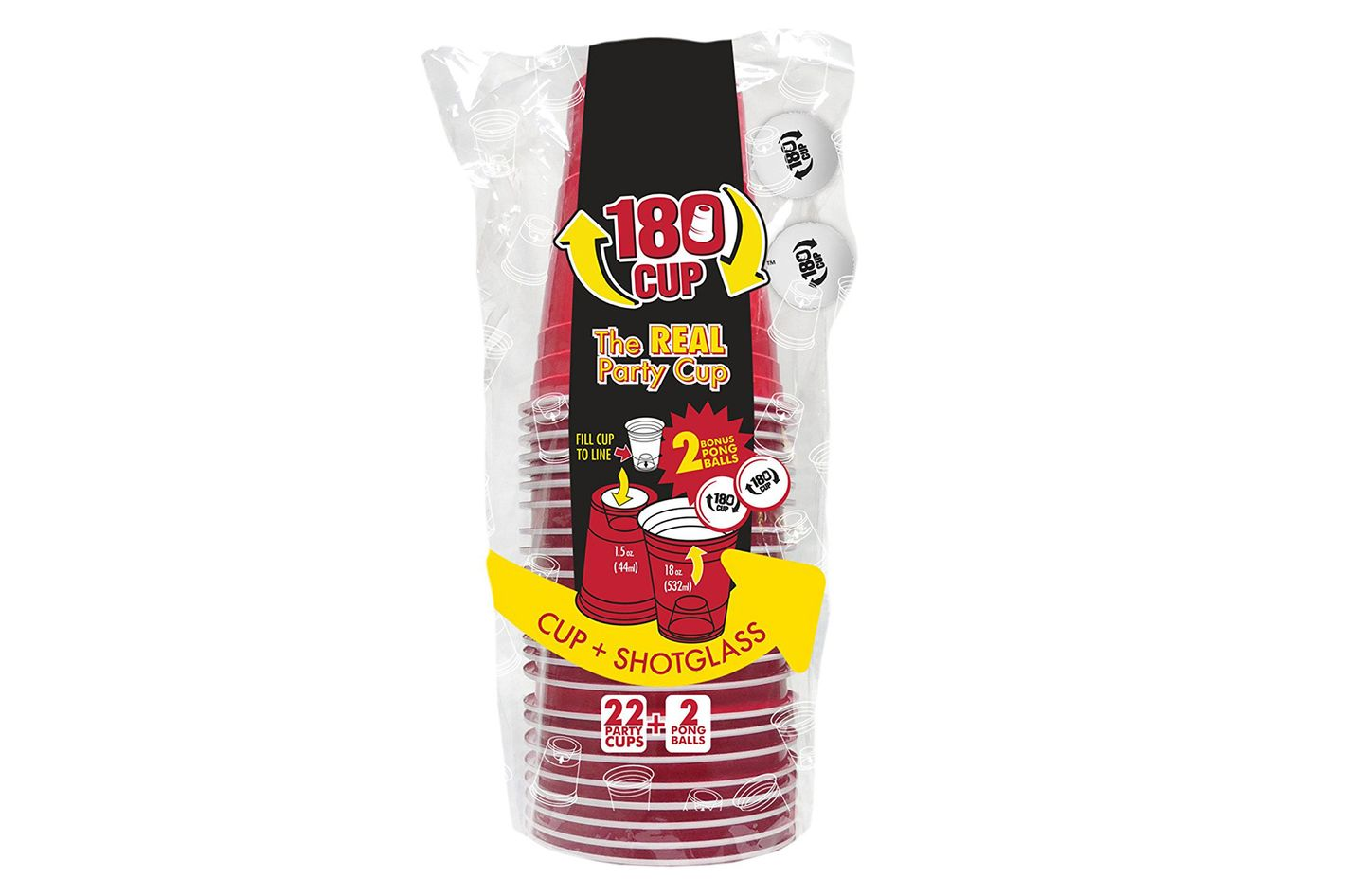 Disposable Red Party Cup with Built In Shot Glass, Pack of 22