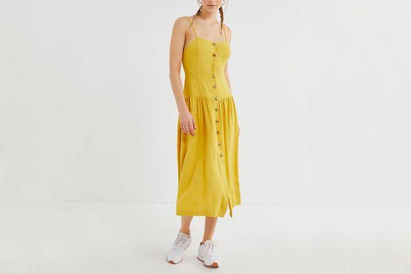 UO Linen Button-Down Drop Waist Midi Dress