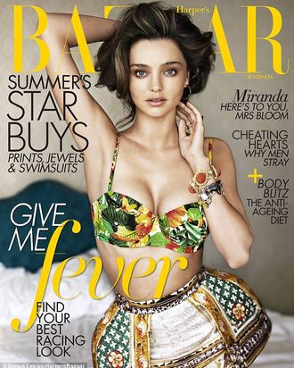 Miranda Kerr on Australian <em>Harper's Bazaar.</em>