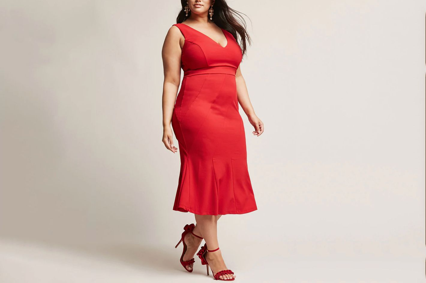 Plus Size V-Neck Mermaid Dress
