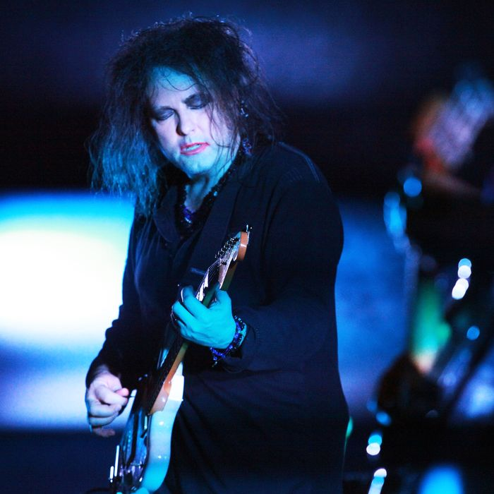 NEW YORK, NY - NOVEMBER 26: Singer Robert Smith of The Cure performs at The Beacon Theatre on November 26, 2011 in New York City. (Photo by Astrid Stawiarz/Getty Images)