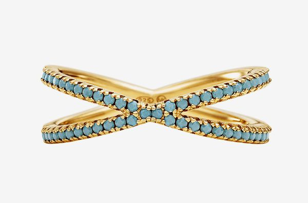 14K Gold-Plated Sterling Silver Pavé Nesting Ring