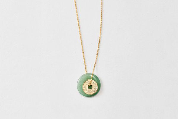 Loren Stewart Jade Coin Necklace