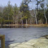 Ice partially covers the surface of Jew Pond in Mont Vernon, N.H., Monday, March 12, 2012.
