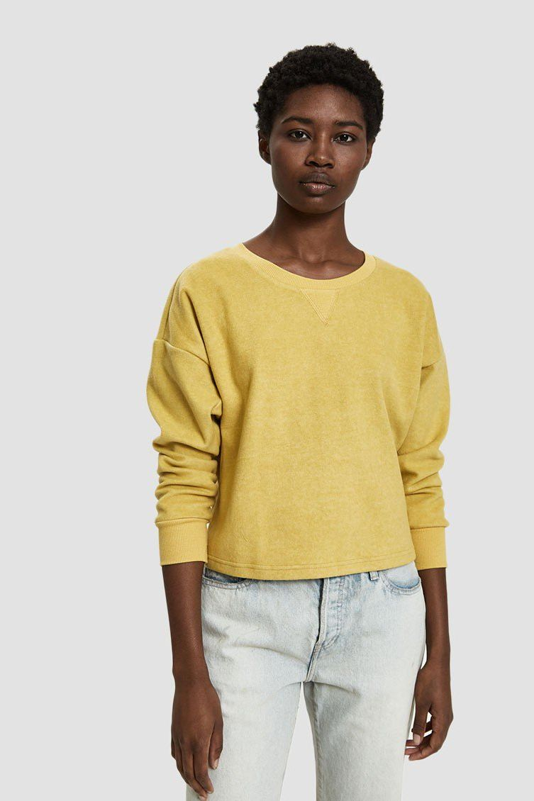 Which We Want Gaby Brushed Fleece Sweatshirt in Mustard