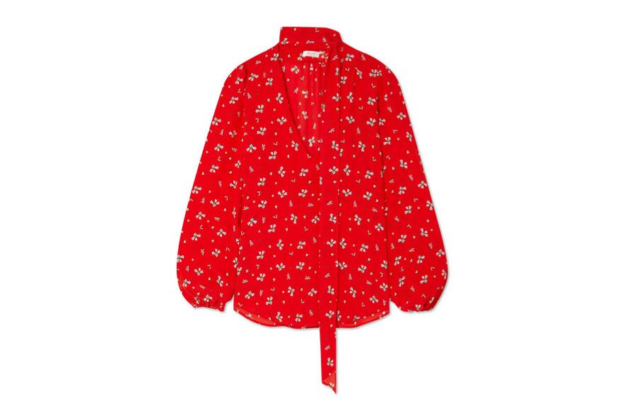 RIXO LONDON Moss pussy-bow floral-print silk crepe de chine blouse