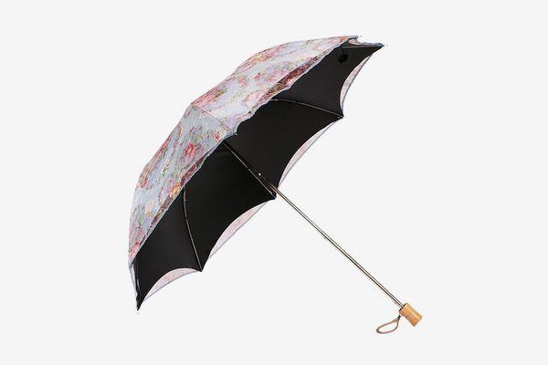 Kilofly Anti-UV Embroidered Sun Protection Folding Parasol Umbrella, UPF 40+