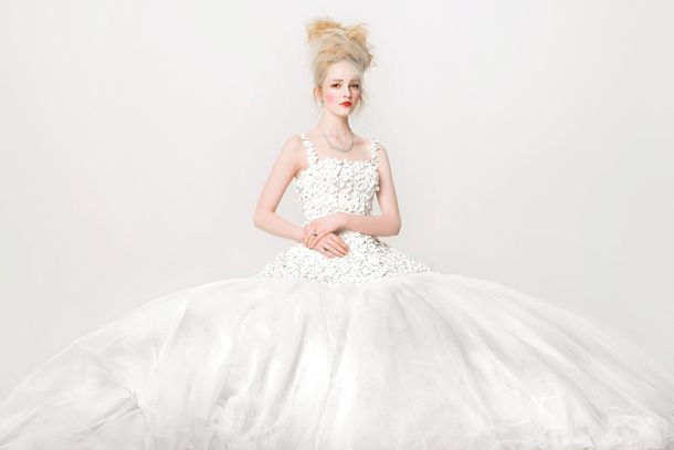 4dbac9e3ded The Season s Most Beautiful Wedding Gowns Belong in a PaintingLaser-cut  organza