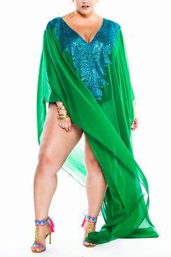 Jibri Green Lace Embellished Maxi Kaftan