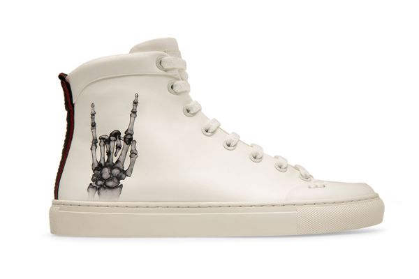 HELENA X FUNK Women's Printed Calf Leather High Top Trainer in White and Black