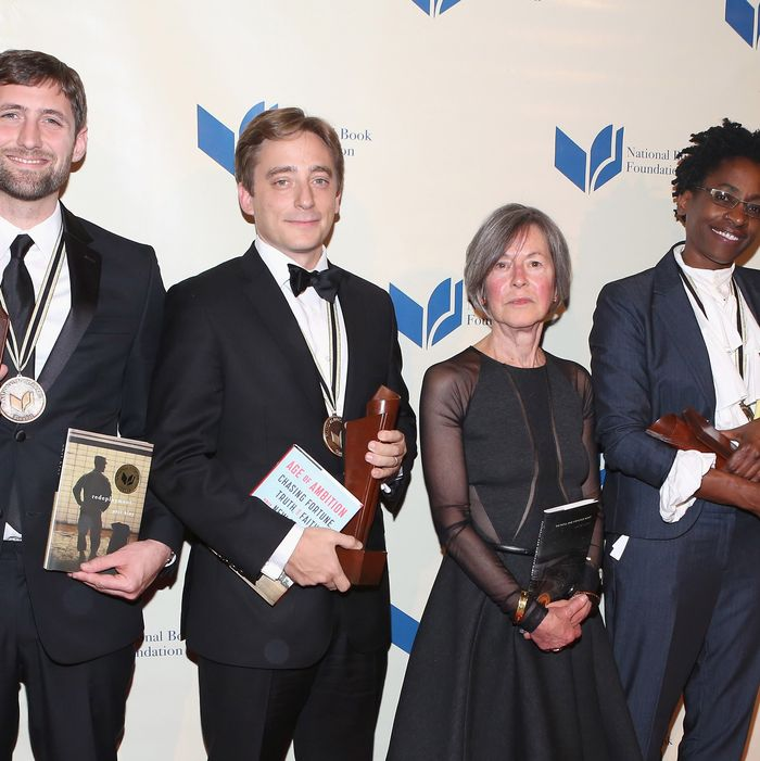 NEW YORK, NY - NOVEMBER 19: Phil Klay, Evan Osnos, Louise Gluck and Jacqueline Woodson attend 2014 National Book Awards on November 19, 2014 in New York City. (Photo by Robin Marchant/Getty Images)