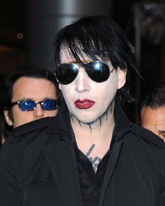 LOS ANGELES, CA - APRIL 11: Muscian Marilyn Manson arrives at the 2012 Revolver Golden Gods Award Show at Club Nokia