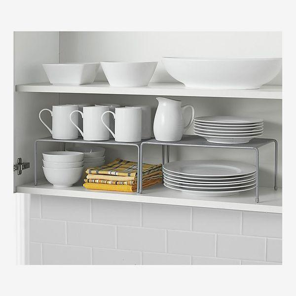 ORG Metal Mesh Expandable Cabinet Shelves in Metallic Chrome (Set of 2)