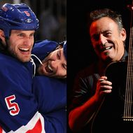 Dan Girardi of the New York Rangers and Bruce Springsteen