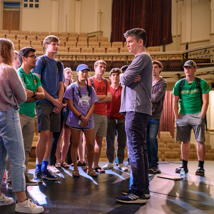 The Good Place creator MikeSchurwith Notre Dame students.