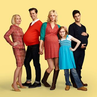 THE NEW NORMAL -- Season: Pilot -- Pictured: (l-r) Ellen Barkin as Jane, Andrew Rannells as Bryan, Georgia King as Goldie, Bebe Wood as Shania, Justin Bartha as David -- (Photo by: Robert Trachtenberg/NBC)