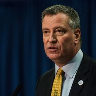 "New York City Mayor Bill DeBlasio speaks at a press conference announcing his traffic safety plan for the city on February 18, 2014 in New York City. The new plan, known as ""Vision Zero,"" includes lowering the citywide speed limit from 30 miles per hour to 25 miles per hour, in an effort to curb motor vehicle related deaths."