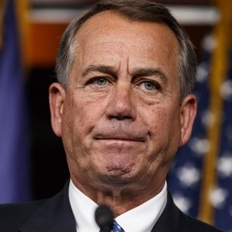 13 Nov 2014, Washington, DC, USA --- Speaker of the House John Boehner, R-Ohio, takes questions as he meets with reporters on Capitol Hill in Washington, Thursday, Nov. 13, 2014. With President Barack Obama poised to unveil a series of executive actions on immigration, Boehner said