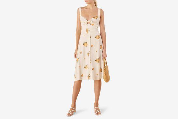 Reformation Frankfort Tie Bodice Dress