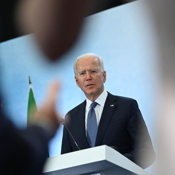 Biden speaking with reporters on the final day of the G7 summit on Sunday.