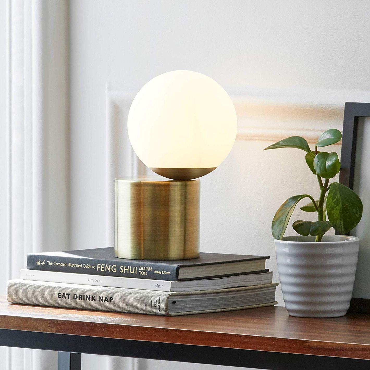 Rivet Glass Ball Metal Table Lamp With Bulb